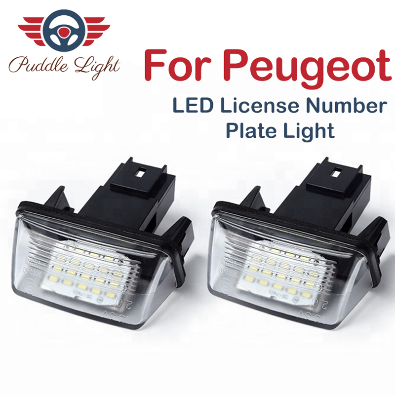 2Pcs LED License Plate Light For <font><b>PEUGEOT</b></font> 18SMD No Error Free Light Bulb 206 207 306 307 406 407 <font><b>5008</b></font> 6500K 12V image