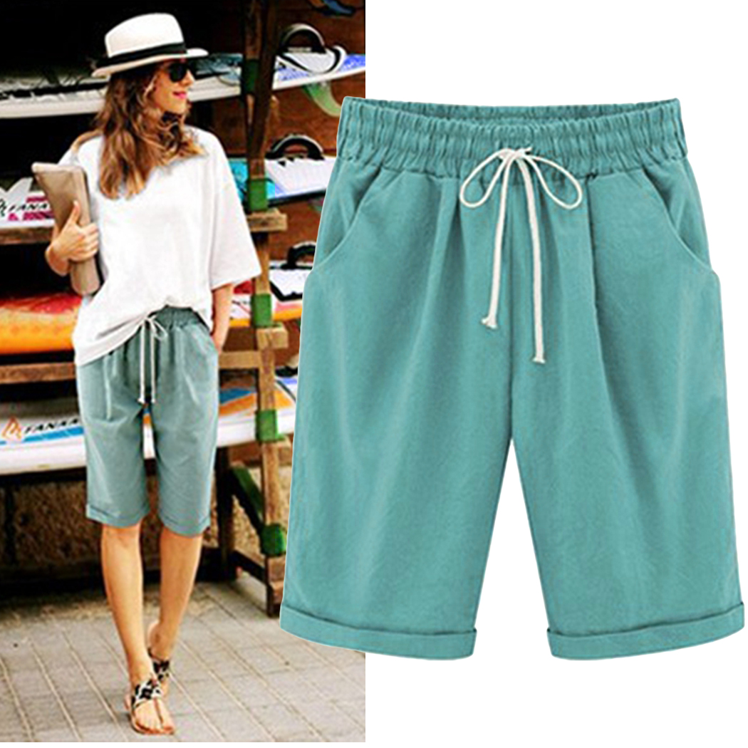 Summer Women's Harajuku Shorts  Fashion High Waist Loose Wide Leg Shorts Ladies Shorts