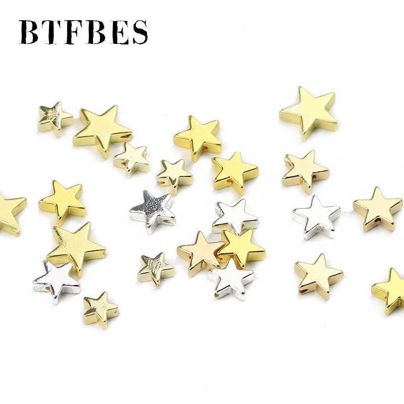 BTFBES Pentagramm Sterne Form Hämatit Rose vergoldung Lose Spacer Perlen Natürliche Stein Für Schmuck Machen DIY Armband 4/ 6/8mm