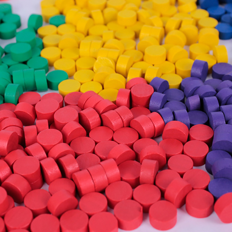 100Pcs 8 Colors Wooden Game Pieces Colorful Chess   Pieces For Games Accessories 10*5MM