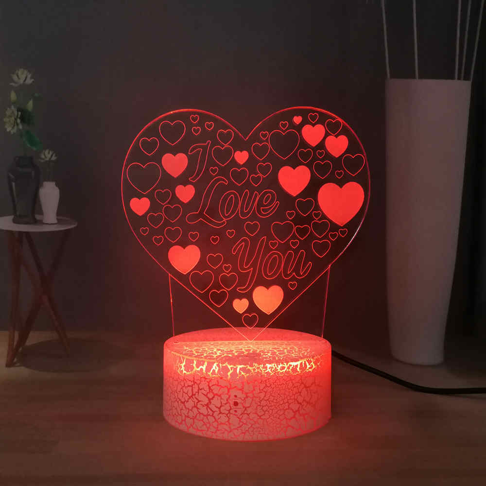 Heart Shape 3D Optical Desk Lamp Sincere Love RGB Multicolored LED Night Light Sweet Girls Inroom Decor Lovers Date Gift