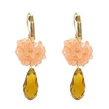 FIAZIA Sweet Stone Water Drop Earrings Women Jewelry Accessories Statement Bijou Dangle Earrings Grace Flower Earring Girl Gift цена и фото
