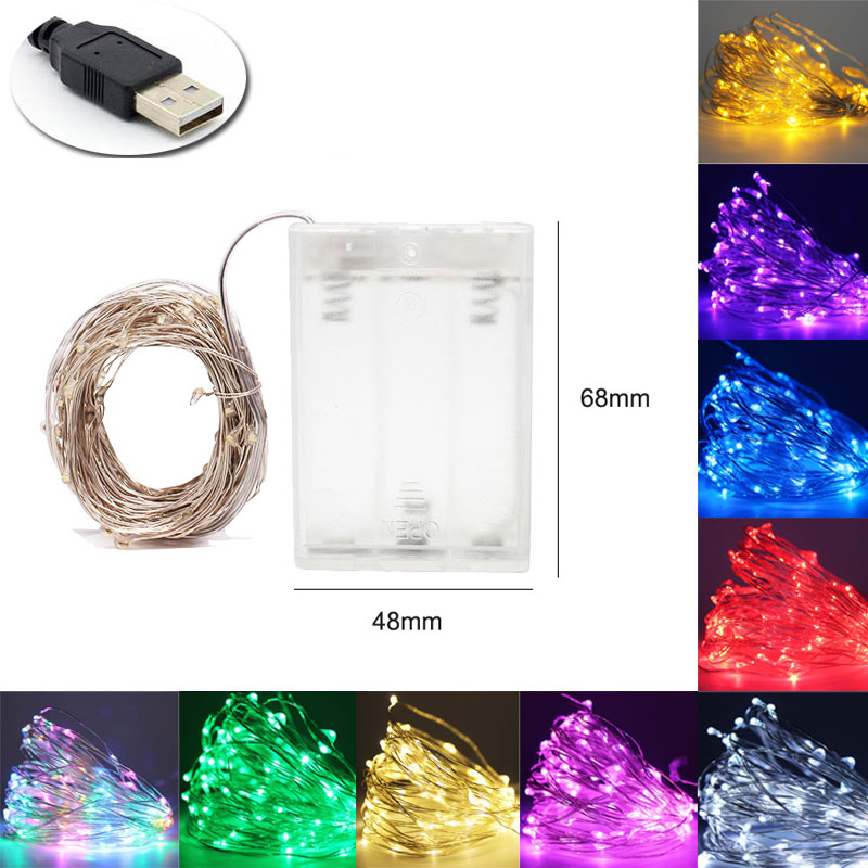 USB 1M 2M 5M 10M Outdoor LED String Lights Holiday New Year Fairy Garland For Christmas Tree Wedding Party Decoration