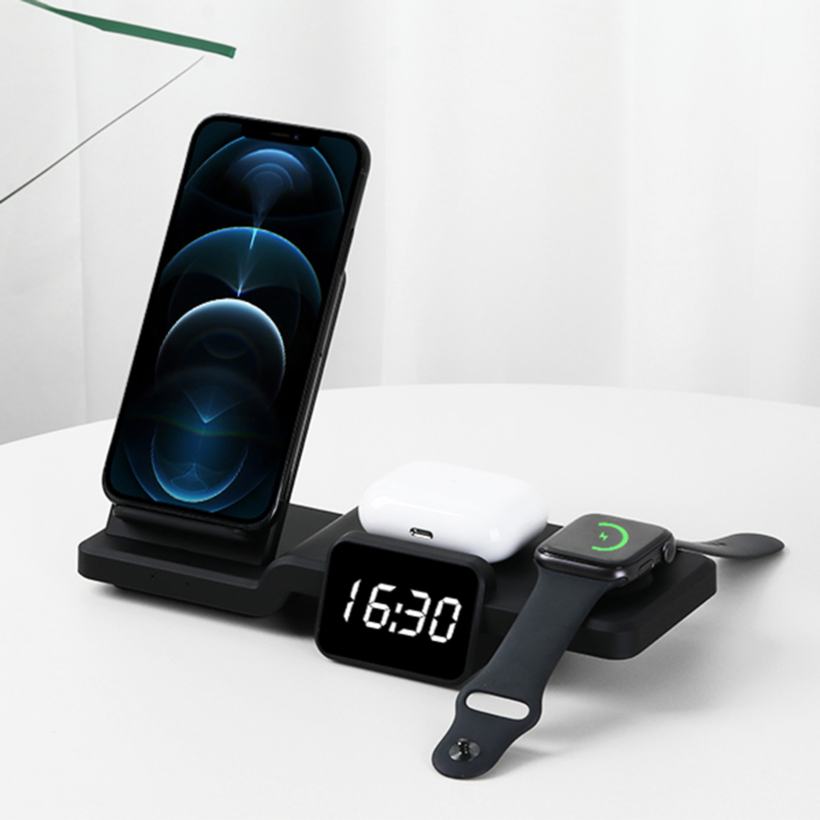 Multi-function Wireless Charger Stand For Iphone 12/ 11pro Smart Phone Watch Airpods Wireless Charging With Clock Charge Station