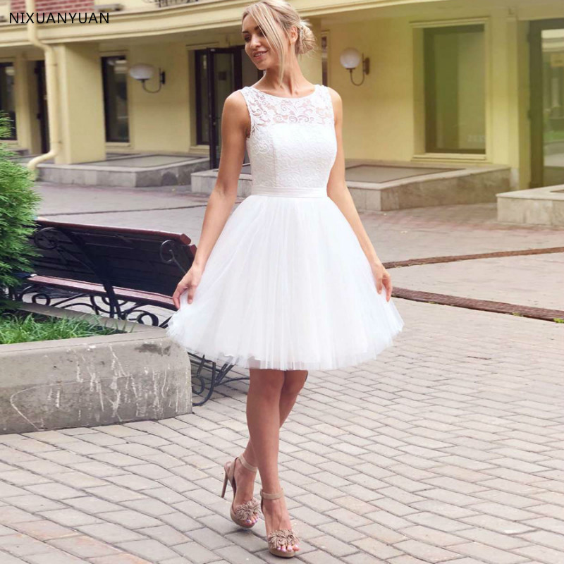 New Custom Short Wedding Dress Scoop Neck Sleeveless Lace Top A-line Tulle Bridal Wedding Dresses Vestido De Noiva