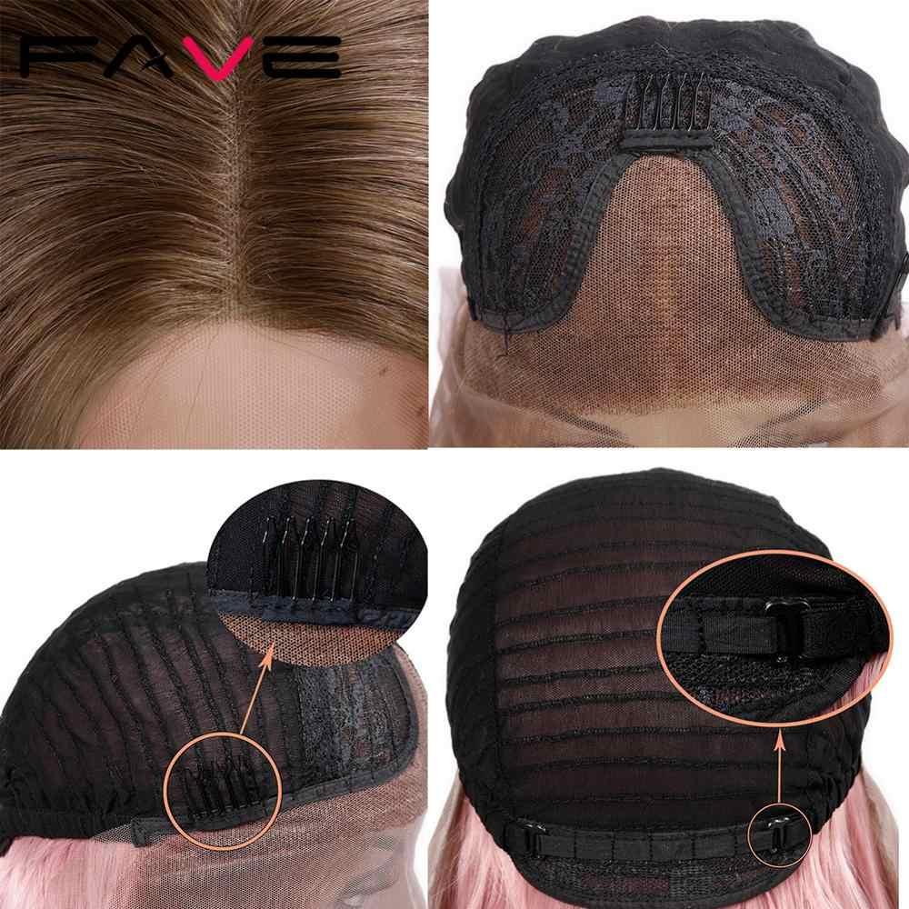 FAVE spitze Front 13*3 Hand Made Braun Rosa Rose Gold Lange Gewellte Haar Synthetische Perücken Hitze Beständig Faser für Wome der Perücke Cosplay