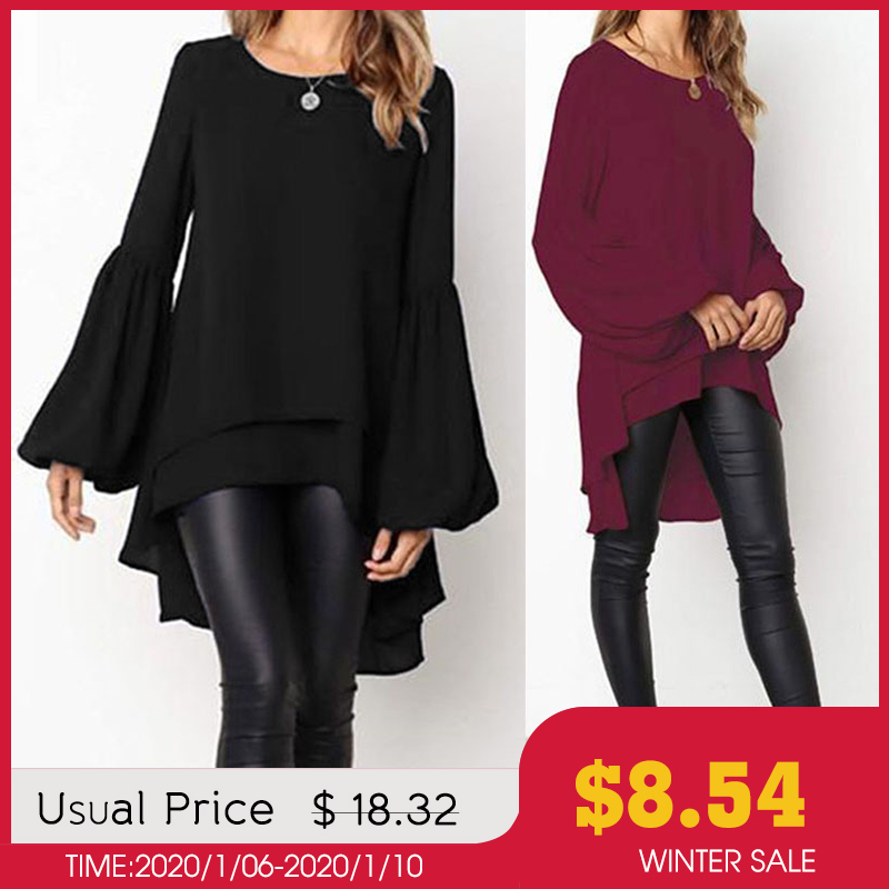 Fashion Puff Sleeve Tops Women's Asymmetrical Blouse 2019 ZANZEA Elegant Casual Layered Blusas Female Blusas Plus Size Tunic