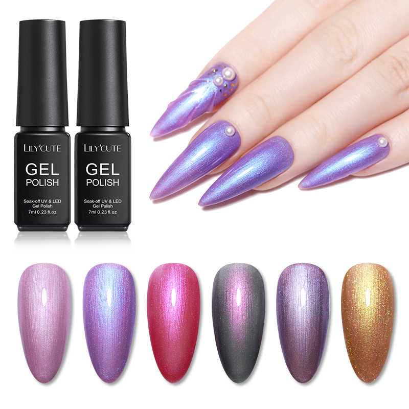 LILYCUTE 7ml Shell UV Gel Polish Semi Permanent Pearl Glitter Hybrid Nail Varnish Soak Off UV LED Nail Art Gel Polish