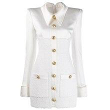 High street 2020 nova moda designer vestido de manga longa das mulheres cetim tweed retalhos leão botões vestido