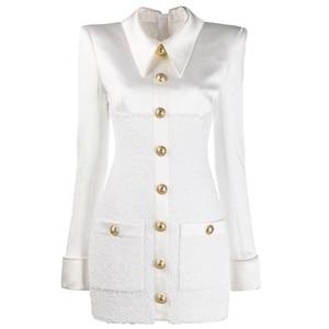 Image 1 - High street 2020 nova moda designer vestido de manga longa das mulheres cetim tweed retalhos leão botões vestido