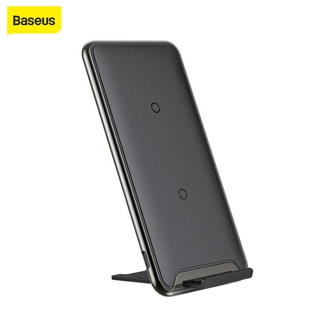 Беспроводное зарядное устройство Baseus Qi 10 Вт с 3 катушками, быстрое зарядное устройство для iPhone X, Samsung Galaxy S9, быстрое зарядное устройство, держатель для телефона