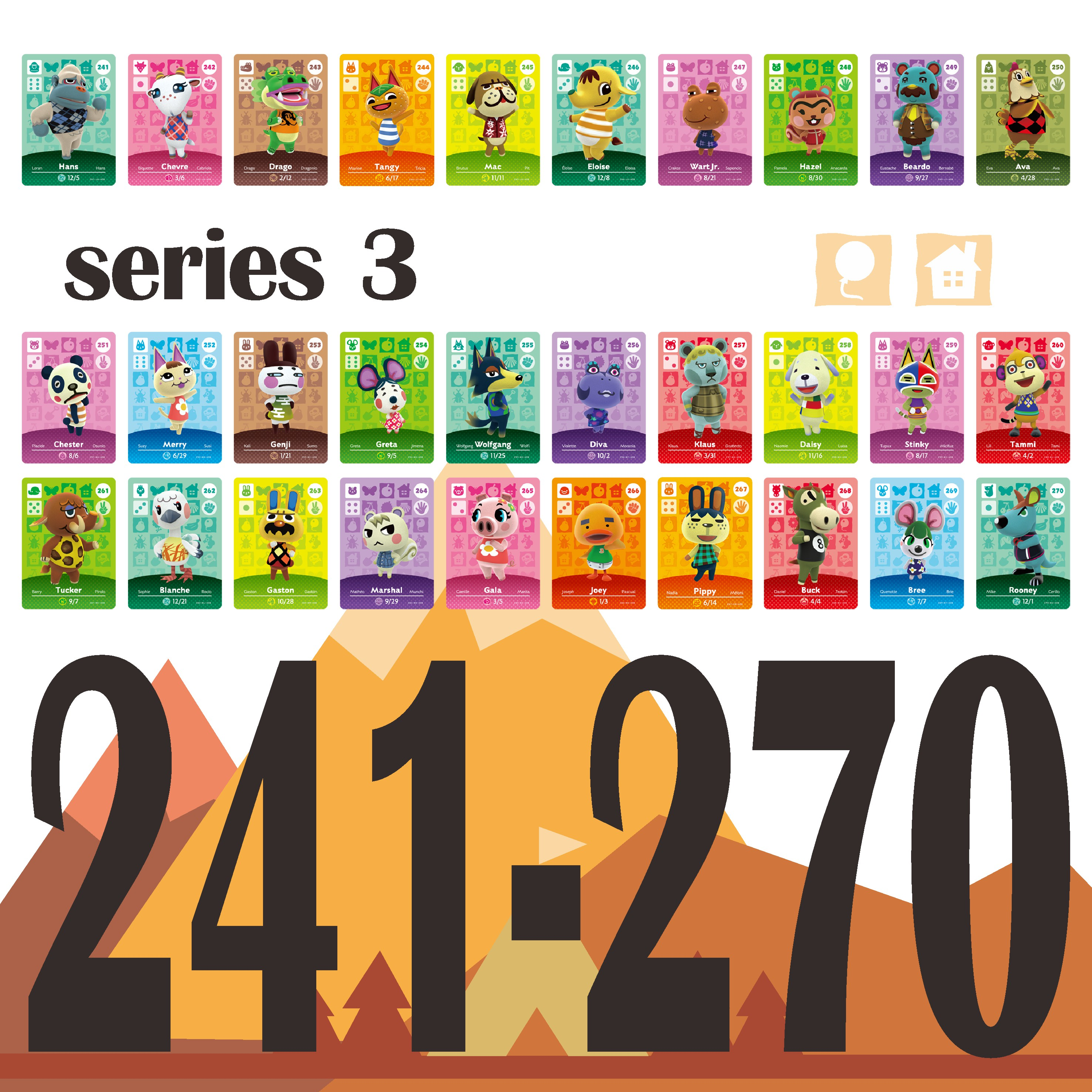 241-270 Animal Crossing Amiibo Game Crooss Card Series Set Season 3 Animal Crossing Card Amiibo Card Work For Ns Games Ntag215