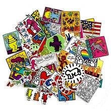 50 шт./лот, наклейка с изображением Кита харинга, наклейка для сноуборда, ноутбука, багажа, автомобиля, холодильника, наклейки для автомобиля