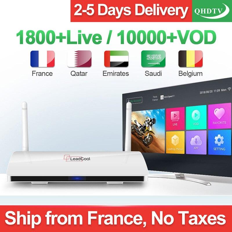 Leadcool IPTV Francia árabe QHDTV 1 Año Caja De Suscripción IPTV Android 8,1 IPTV Bélgica Países Bajos Alemania árabe Francés IP TV