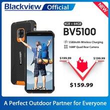 Blackview – Smartphone BV5100, Version globale, 4 go + 64 go, étanchéité IP68, téléphone robuste, 5580mAh, 5.7 pouces, Android 10, NFC, 16mp