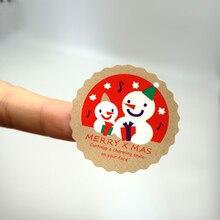 90pcs/lot lovely stickers Merry Christmas Snowman Sealing Sticker Adhesive Kraft Seal