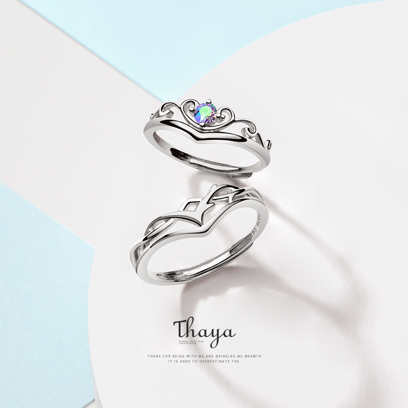 Thaya S925 Sterling Silver Rings Creative Design Fairy Fruit Rings Couple Ring For Wedding Engagement Gift Fine Jewelry(China)