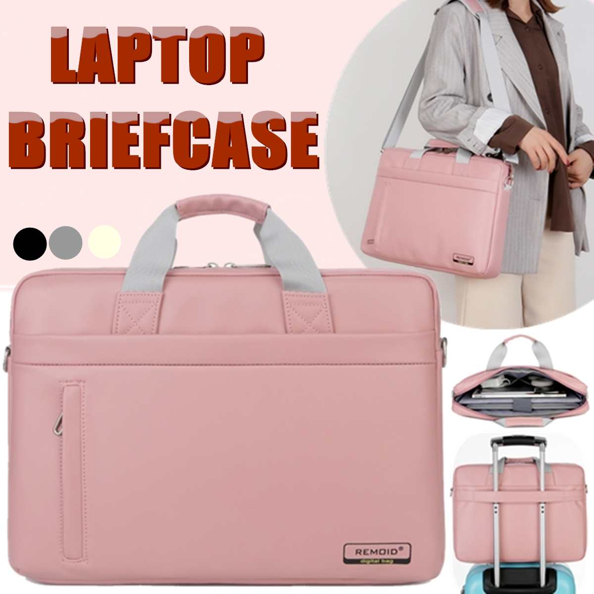 Osmond Women PU Laptop Bag 15.6 Inch Notebook Carrying Case Briefcase For Macbook Air Men Waterproof Handbags Shoulder Bag Pink