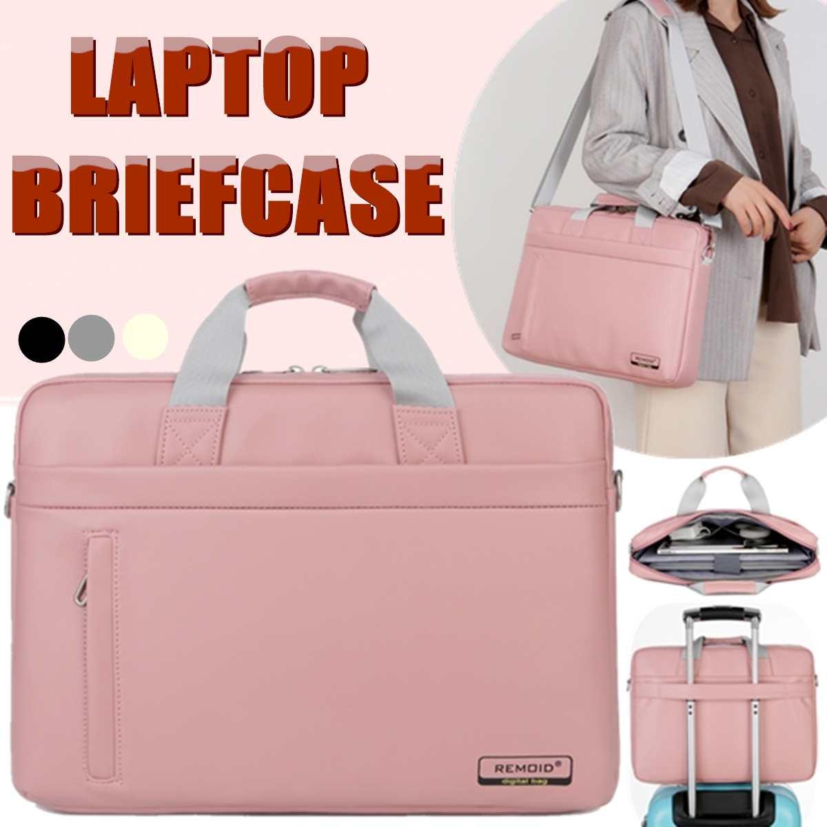 Osmond Women PU Laptop Bag 15.6 Inch Notebook Carrying Case Briefcase For Macbook Air Men Waterproof Handbags Shoulder Bag Pink