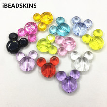 50pcs/Lot 37x33mm ( choose color) chunky Transparent Acrylic minnie  Head beads for chunky Jewelry necklace