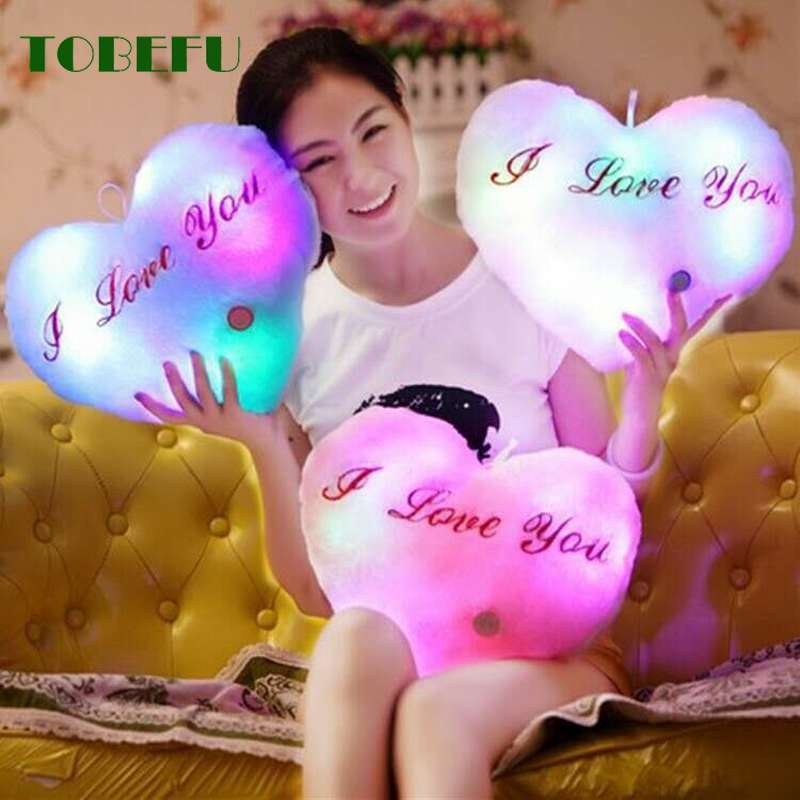 36CM Luminous Pillow Glowing Colorful Love Cushion Led Light Toys Creative Toy Soft Stuffed Plush Gift For Kids Children Girls