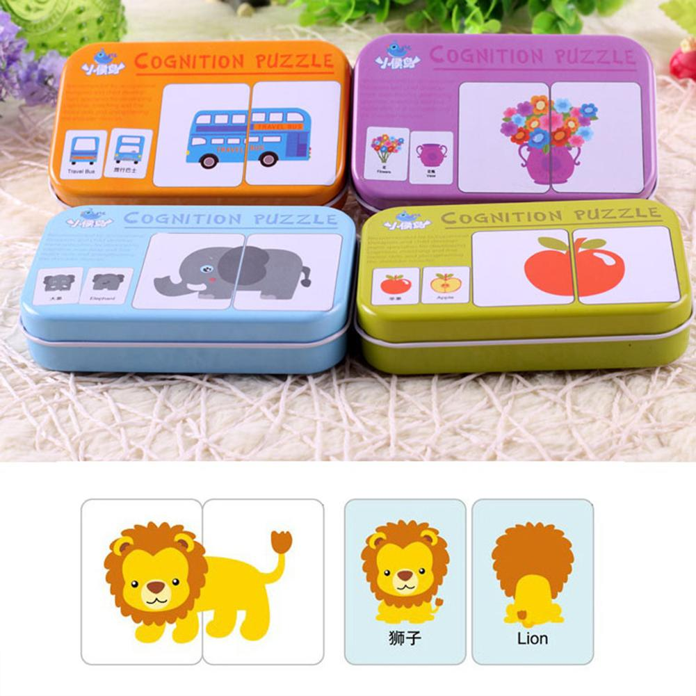 Baby Fruit Animal Cognition Cards Chinese English Learning Puzzles Education Toy New