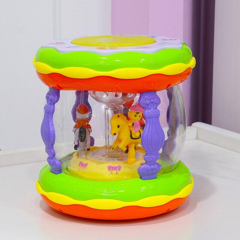 Enfants Pat tambour bébé musique tambours à main Rechargeable éducation précoce Puzzle carrousel bébé jouets