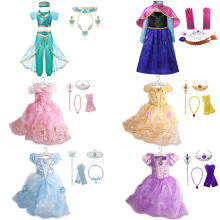 Princess Dress up for Baby Girls Jasmine Clothing Set Fancy Cinderella Rapunzel Snow White Anna Elsa Moana Minnie Cosplay Outfit