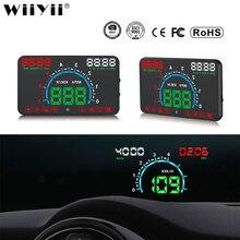 WiiYii HUD E350 wyświetlacz do samochodu Auto alarm prędkości OBD2 wyświetlacz parametrów wozu na szybie elektronika samochodowa danych narzędzie diagnostyczne