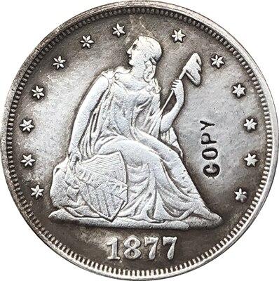 1877 assentada liberdade Dos Estados Unidos vinte cêntimos COPIE