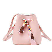 2020 fashion new products messenger female bag Korean version of the scarf bucket solid color small