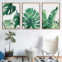 Nordic Monstera Deliciosa Green Plant Leaf Turtle Back Bamboo Canvas Painting Printing Frameless Wall Pictures for Living Room(China)