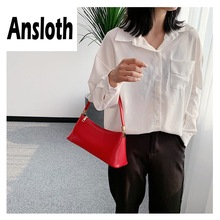 Ansloth Retro Baguette Bag Women Zipper Shoulder For Ladies Quality PU Leather Crossbody Female Small Handbag HPS718