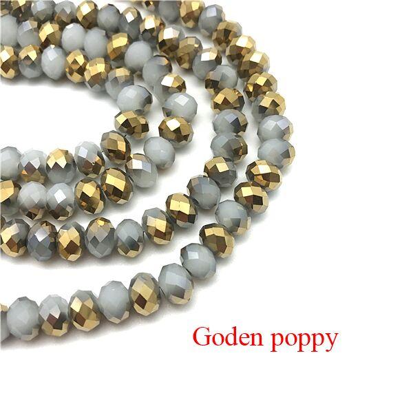 2X3/3X4/4X6/6X8 мм хрустальные бусины AB разноцветные стеклянные бусины Sapcer для ювелирных изделий ручное кольцо Ожерелье Изготовление DIY - Цвет: Goden poppy