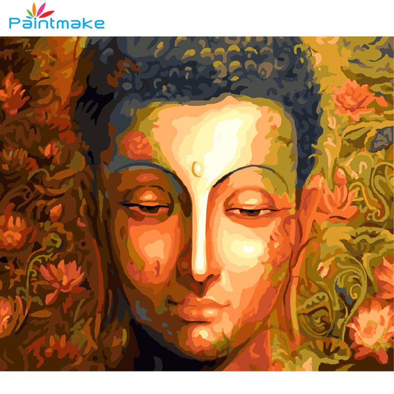 Paintmake Potret DIY Lukisan Dengan Angka No Bingkai Gambar Buddha - Dekorasi rumah - Foto 1