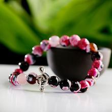 TopHanqi розовый красный турмалин бисерный браслет талисманы музыкальная нота Strand браслет для мужчин натуральный камень ювелирные изделия для женщин Pulseras