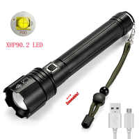 new XHP90.2 LED Flashlight Super Bright 7500 Lumen 3 Modes Tactical Flashlight Rechargeable Zoomable Waterproof Troch Light