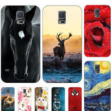 Cute Animal Cat Printing Case For Samsung Galaxy S5 S 5 SM-G900F i9600 S5Neo S5 Neo S5 Mini G800 S5mini Cover Cartoon Coque(China)