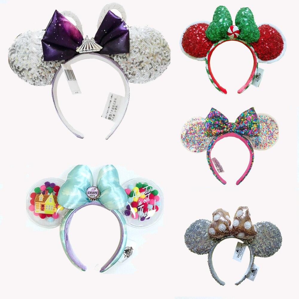 New Minnie Ears Headband Holiday party sequins Headdress Bows EARS COSTUME Headband Cosplay Plush Adult/Kids Headband Gift