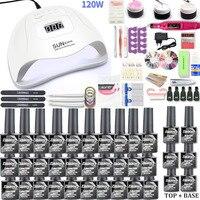 Zestaw nail art 120W UV LED lampa susząca i 30/20/10 lakier do paznokci żel kolorowy zestaw zestaw narzędzi do paznokci żel lakier zestaw przyborów do manicure