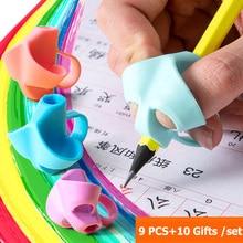 9Pcs Children Finger Writing Corrector Kindergarten Pupils Children Beginners Grasping Pen To Correct Writing Posture Pen Holder