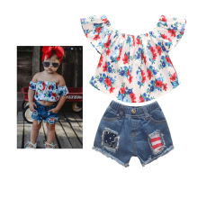 1-6Y children clothes girls outfits off the shoulder red floral crop top and short jeans set 2pcs baby girl summer clothes цена 2017