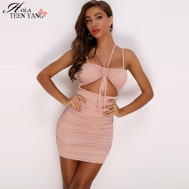 HolaTeenYang Pleated Sexy Dress Women Spaghetti Strap Holllow Out Bodycon Party Summer Dress Slim Backless Casual Party Clubwear