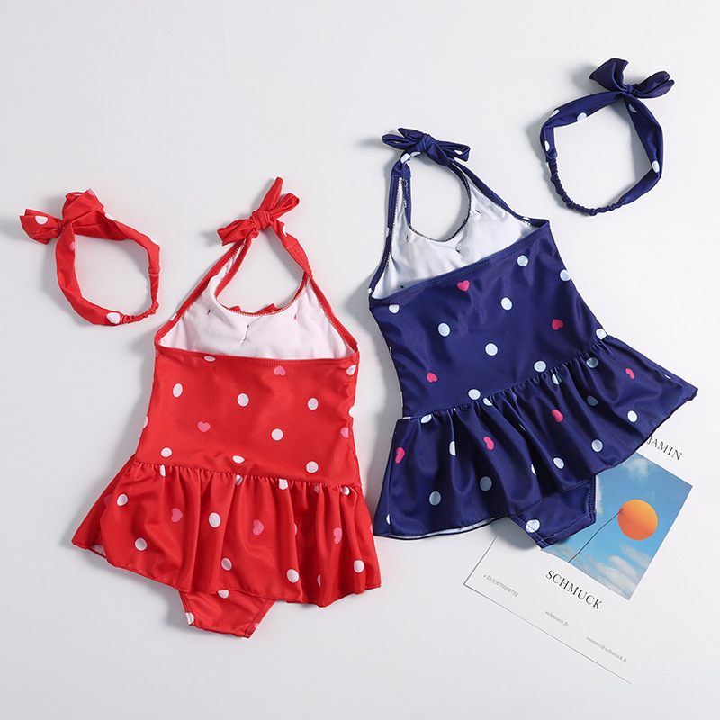 2019 New Style Hot Sales KID'S Swimwear Department Of Neck Backless Bow Dots Heart Tutu Triangular GIRL'S Swimsuit