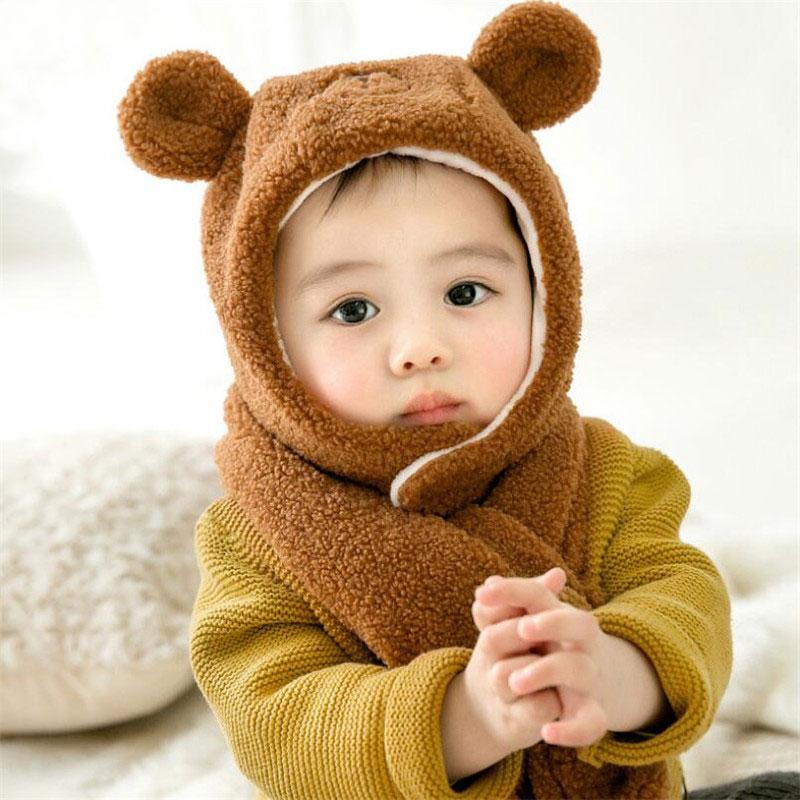 2019 Kids Winter Warm Hat And Scarf Child Short Plush Inlayer Hat 2 Piece Set Baby Ear Protection Cap Girl Boy Cartoon Design