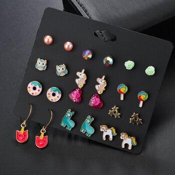 Conjunto de 12 pendientes con forma de piruleta y alpaca y unicornio para niñas, pendientes de declaración de cristal, joyería de Metal, pendientes de boda ER200108