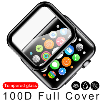 100D Curved Screen Protector Tempered Glass for Apple Watch Series 38 40 42 44mm Protection Film for iWatch 5 4 3 2 1 Full Glue 3d curved full cover tempered glass film for apple watch 40mm band flim screen protector for iwatch series 4