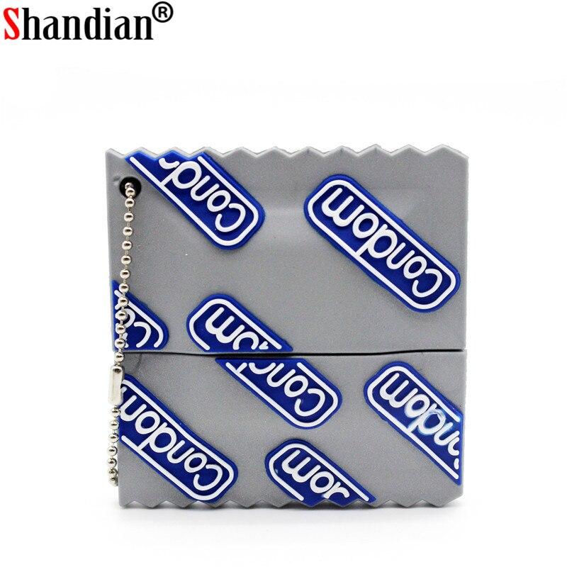 SHANDIAN Fashion Model Condom Style Usb Flash Drive Condoms Pendrive 4GB 8GB 16GB 32GB 64GB Memory Stick Pendrives Funny Gifts