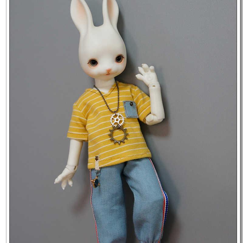 1/6 ตุ๊กตา BJD ตุ๊กตา T เสื้อสีเหลืองแถบสีกระเป๋าสำหรับ 1/6 YOSD MYOU ตุ๊กตาอุปกรณ์เสริมตุ๊กตาเสื้อผ้า