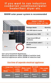 Panel słoneczny pełny zestaw 3000w 5000W 6000W 8000W 24v 48V do 220v 230V AC hybrydowy falownik MPPT 3KW 5KW 6KW 8kW domowy System zasilania energią słoneczną tanie i dobre opinie Singfo Solar CN (pochodzenie) 20 Panneaux Solaires 3000w 5000W 6000W 8000W Kit Complet 770*671*30mm 36(4*9) Solar Cells